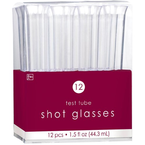 Amscan Reusable Test Tube Plastic Shot Glasses Perfect for Parties, Picnics or Everyday Use (12 Pack), 1.5 oz, Clear