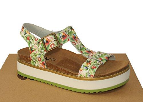 Oxygen Platform Footbed Sandal Denia White Floral Leather CHvPNK8x1Q