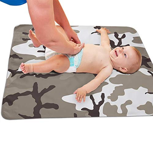V5DGFJH.B Baby Portable Diaper Changing Pad Grey Camouflage Urinary Pad Baby Changing Mat 31.5″ x25.5""