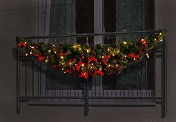 Weihnachtsdeko Für Balkongeländer.1 8m Balkon Girlande Weihnachtsdeko 50er Lichterkette