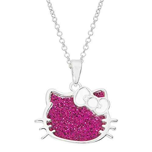 Hello Kitty Silver Plated Pink Glitter Pendant, 18