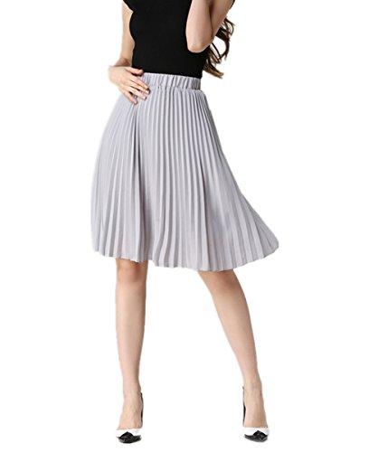 uideazone Summer Bohemian Linen Jupe Femmes Haute Taille Pliss Midi Boho Jupes Gris