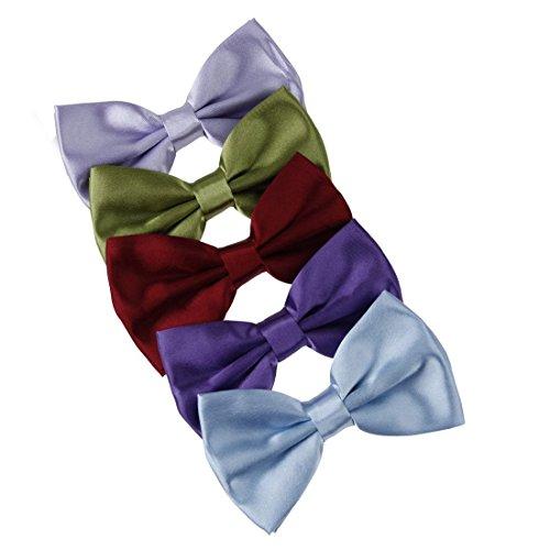 Dan Smith DBF2005 Bow Tie Stores Medium Slate Blue,Olive Drab,Burgundy,Indigo,Light Blue Solid Poly Pre-tied Bowtie Gift Box Set 5T