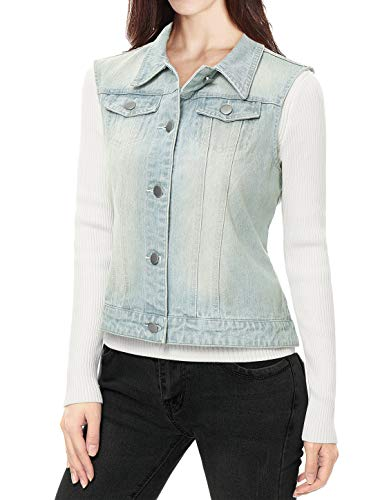 Waistcoat w Denim Buttoned Washed Allegra Pockets Light Women's Blue Flap Chest Vest K SUYqwxF