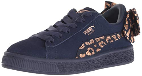 PUMA Suede Bow Sneaker, Peacoat-Rose Gold, 1 M US Little Kid]()