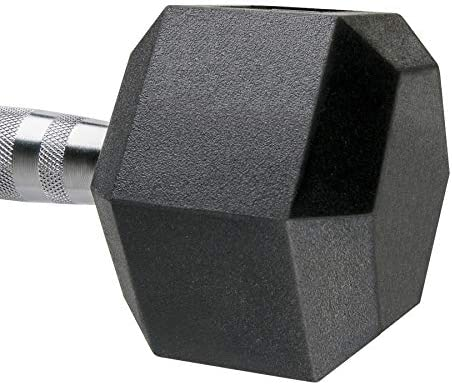 Aimyoo Rubber Hex Dumbbell with Metal Handle for Strength Training Full Body, Home Fitness,Weight Loss, Fitness Dumbbells 5lbs, 10lbs, 15lbs, 20lbs, 25lbs, 30lbs, 35lbs in Singles or Pairs 4