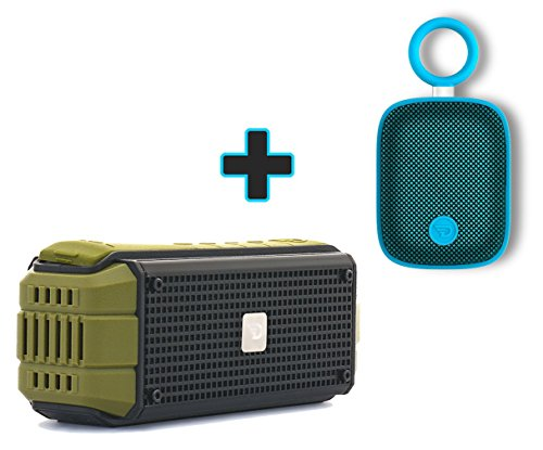 15 Watt Rugged Portable Speaker with 4.0 aptX Bluetooth, USB Power Bank, IPX5 Splash Proof, Bicycle Handle Mount Included by Dreamwave Audio - EXPLORER + BONUS Dreamwave Bubble Pod Blue Mini Speaker (Music Stream Christmas Live)