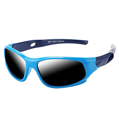 Pro Acme TR90 Unbreakable Polarized Sports Sunglasses for Kids Boys and Girls (Baby Blue) -