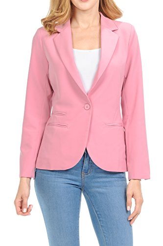 Auliné Collection Women's Color Work Office Long Sleeve Button Lined Blazer Rose 2XL by Auliné Collection