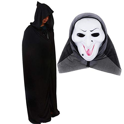 Plus Size Funny Halloween Cosplay Costumes with Mask,Devil's Death Cloak Black Wizard Hooded Long Cape for Adults Women Men Juniors Masquerade -