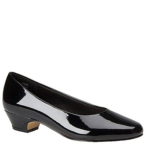 Easy Street Womens Halo Round Toe Classic Pumps Black-shiny