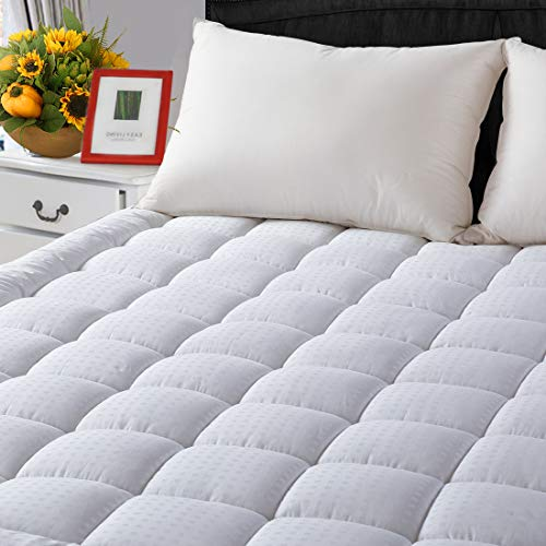 (Cal King Cooling Mattress Pad Cover(8 to 21 Inches Deep Pocket)-Fitted Quilted Mattress Topper Down Alternative Fill)
