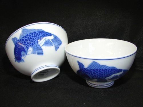 4 Pcs of Porcelain Rice Bowls with Blue Fish by Feng Shui Import