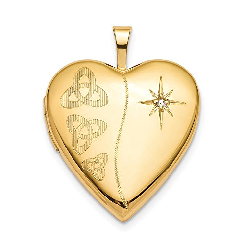 ICE CARATS 925 Sterling Silver Gold Plated 20mm Diamond Trinity Heart Photo Pendant Charm Locket Chain Necklace That Holds Pictures Fine Jewelry Gifts for Women for Her