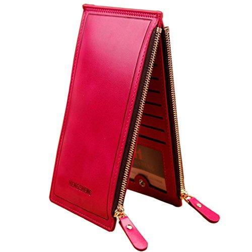Women Love Bags,Pocciol Women Lady Fashion Wallet Long Handbag Large Capacity Genuine Leather Zipper Pocket Bifold Multi Card Holder Organizer Slim Ladies Purse (Hot Pink)