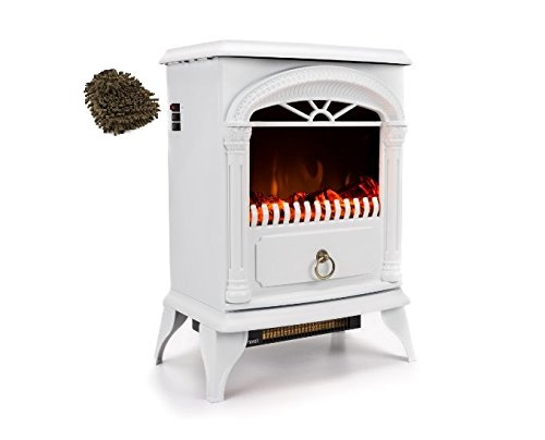 Cheap e-Flame USA EF-BLT01 Electric Fireplace Stove White 22 Inches Hamilton Free-Standing (Complete Set) with Bonus Premium Microfiber Cleaner Bundle Black Friday & Cyber Monday 2019