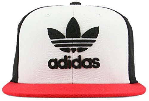 adidas Men's Originals Trefoil Chain Snapback Cap, White/Black/Scarlet, One Size - Adidas 3 Stripe Hat