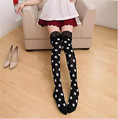 da4b7239a98b5 Amazon.com: Blue Stones Cute Lace Style Women Dot and Stars Knitting Socks  Ladies Sexy Over The Knee Socks Cute Girls Long Stockings: Kitchen & Dining