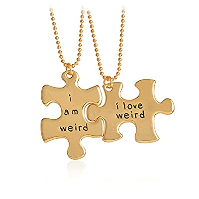 Meiligo Fashion 2 Pcs Couples Gift Alloy I Am Weird I Love Weird Puzzle Tag Necklace Key Chain Best Friends Letter Puzzle Square Pendant Matching Engraved Necklace Set