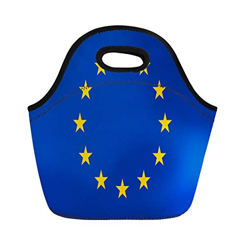 Semtomn Lunch Tote Bag European Union Flag Official Colors and Proportion Correctly Patriotic Reusable Neoprene Insulated Thermal Outdoor Picnic Lunchbox for Men Women