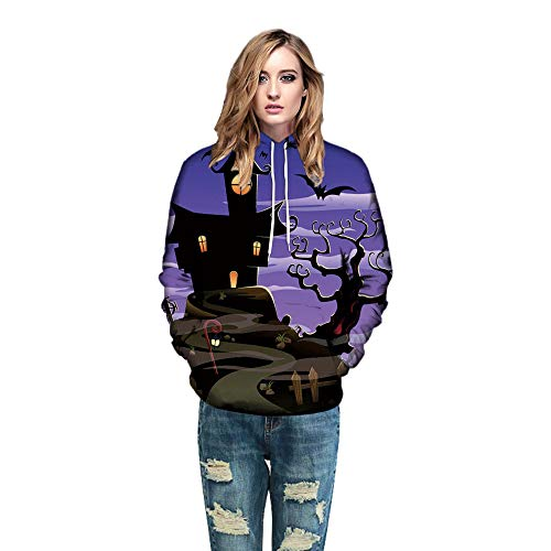 iLOOSKR Men Women Mode Hoodies 3D Printing Long Sleeve Halloween Couples Top Blouse Shirts with Pockets Purple -