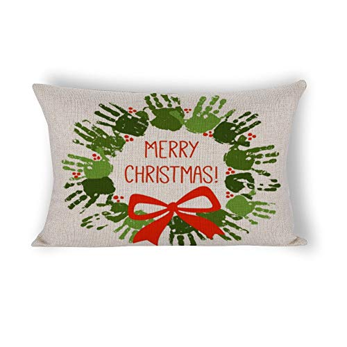 Handprint Christmas Wreath with Red Handdrawn BowPillow Covers Cotton Linen Rectangle Pillow Covers Lambar Pillow Cases 14X24 (Christmas Handprints Wreath)