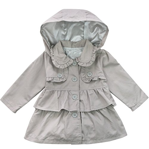 Alvivi Baby Girls Kids Fall Spring Autumn Trench Wind Dust Coat Fashion Jacket Outerwear with Removable Hood Gray 2T