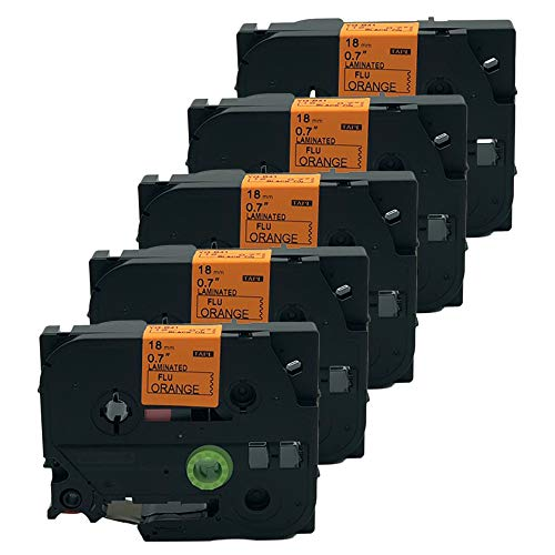 (QPMY 5 Pack Compatible for Brother P-Touch Laminated TZe TZ Label Tape Cartridge 18mm x 5m (TZe-B41 Black on Orange Fluorescent))