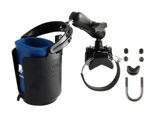 ram-mounts-ram-b-132r-2u-strap-clamp-roll-bar-mount-with-double-socket-arm-self-leveling-drink-cup-h