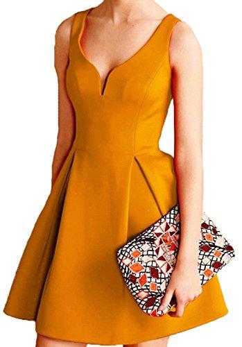 Maniche Senza Sera Moda Vestito V Giallo da Wenseny Scollo Abito Donna Cerimonia Vintage P61wxfYtq0