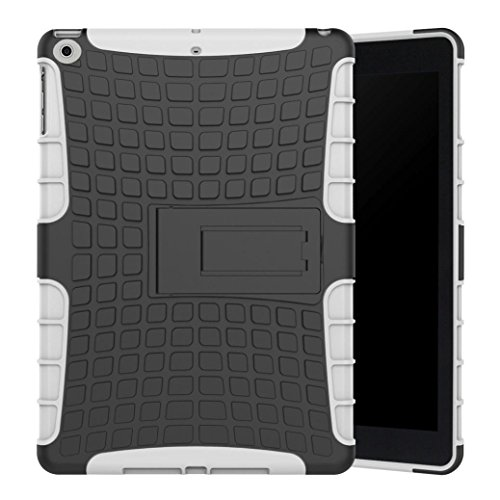 Price comparison product image Rubber Hybrid Hard Case Cover with Stand Holder for iPad 2017 9.7 inch,SMYTShop Heavy Duty Kickstand Shockproof Protective Case Cover for Apple New iPad 9.7 inch (2017 Version) (White)