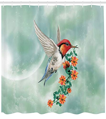 Ambesonne Hummingbird Shower Curtain, Hummingbird is Flying with Flowered Branch Floral Nature Illustration, Cloth Fabric Bathroom Decor Set with Hooks, 84