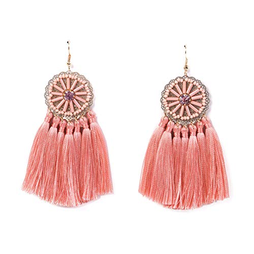 Glass Seed Bead Earrings - RIVERTREE Pink Statement Fringe Tassel Earrings for women - Ethnic Rhinestone Seed Beads Disc Top Dangle Drop Earring Boho Vintage Rose