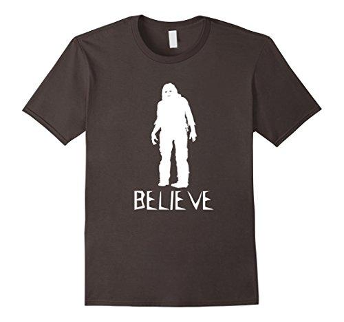 [Men's Believe Bigfoot Sasquatch - Scary Halloween Costume T Shirt Large Asphalt] (Funny Weird Halloween Costumes)