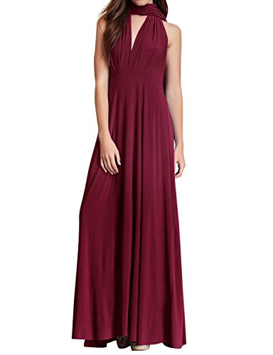 (Women Transformer Infinity Multi Way Wrap Bandage Long Dress Convertible Bridesmaid Wedding Night Cocktail Ball Gown Burgundy M)