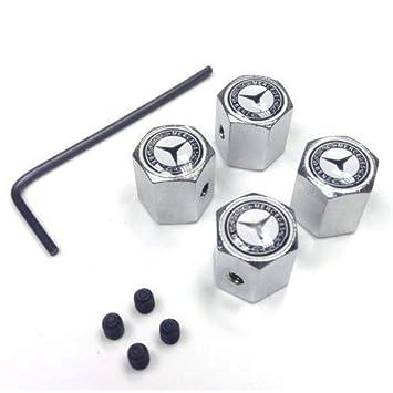 Tapas antirrobo para válvulas de ruedas, de eMarkooz, con cromado y llave en L: Amazon.es: Coche y moto