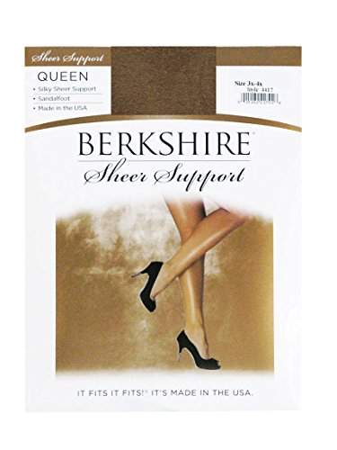 Queen Sheer Silky Berkshire (Berkshire Women's Plus-Size Queen Silky Sheer Support Pantyhose - Sandalfoot, Utopia, Queen Petite)