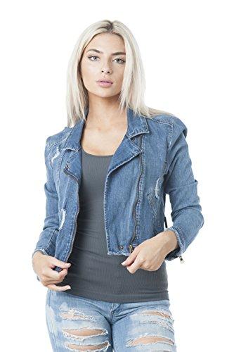 Khanomak Women's Denim Asymmetrical Moto Zip up Jacket (Large, Medium Blue) ()