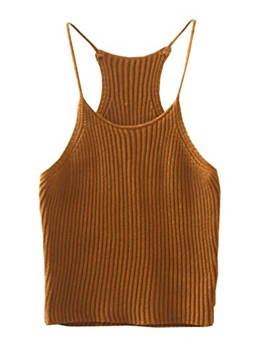 Mooncolour Women's Pure Color Knit Camisole Strappy Sleeveless Racerback Crop Top Suspender Vest - Top Tank Knit Sweater