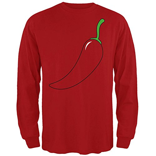 Halloween Chili Pepper Costume of Cinco de Mayo Mens Long Sleeve T Shirt Red (Chili Pepper Costumes)