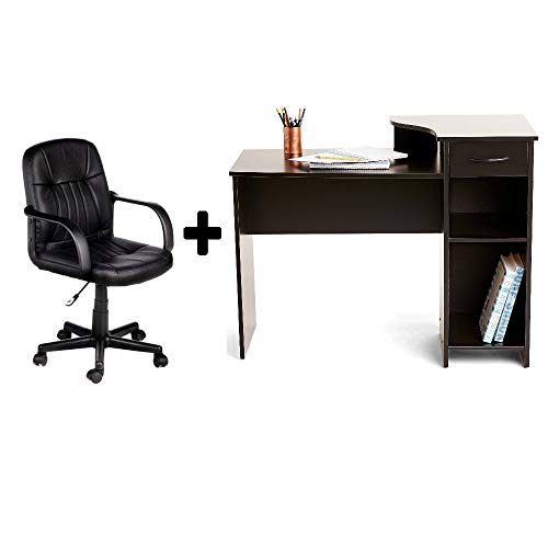 (Student/Office Home Desk in Blackwood + Leather Mid-Back Chair in Black - Bundle Set)