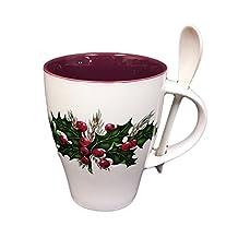 Hampstead Collection Porcelain Christmas Mug With Spoon 14oz