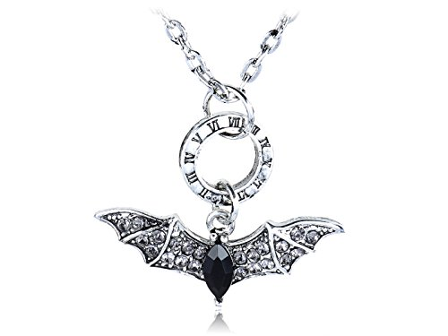 Alilang Silvery Tone Roman Numeral Time Clear Black Crystal Rhinestone Flying Bat Pendant Necklace ()