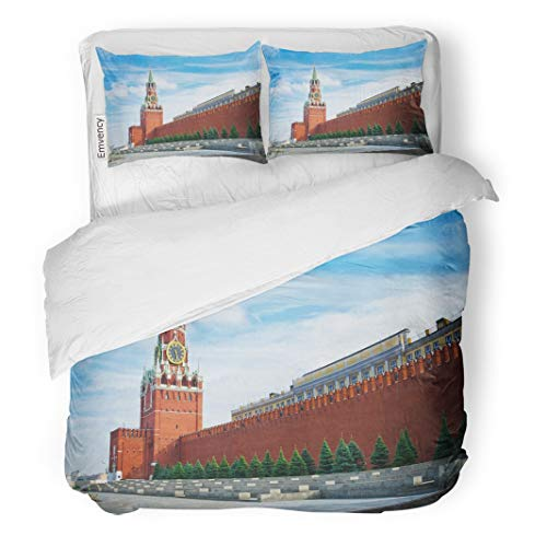 Tarolo Bedding Duvet Cover Set Red Clock The Moscow Kremlin Russia Spasskaya Tower Wall Brick Architecture 3 Piece King 104