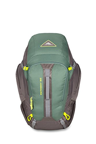 High Sierra Pathway 50L Top Load Internal Frame Backpack Pack ; High-Performance Pack for Backpacking, Hiking, Camping, with Rain Fly, Pine/Slate/Chartreuse - 50l Belt