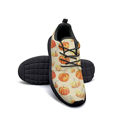 Young Men Sneakers Watercolor Halloween of Pumpkins New Rubber Sole Jogging Shoes