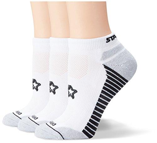 Starter Women's 3-Pack Athletic Microfiber Low-Cut Ankle Socks, Prime Exclusive, White, Medium (Shoe Size 5-9.5)