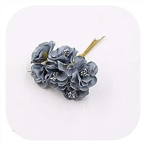 Memoirs- 6Pcs/Lot Silk Artificial Cherry Flowers Bouquet Wedding Home Decoration DIY Craft Wreath Gifts Handmade Fake Flower Accessories,Gray 16