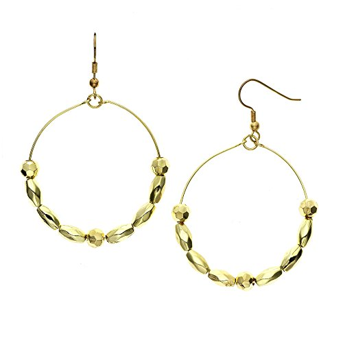 - 14K Gold Plated Rosette and Faceted Oval Beaded Earring