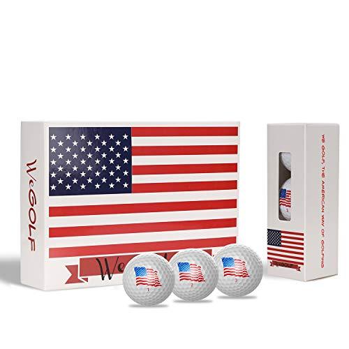Geodesic Logistics Golf Balls (One Dozen), Long Distance Golf Balls, Best Golf Balls, for Dad, for Him, White Golf Balls, USA, US Flag, Flag